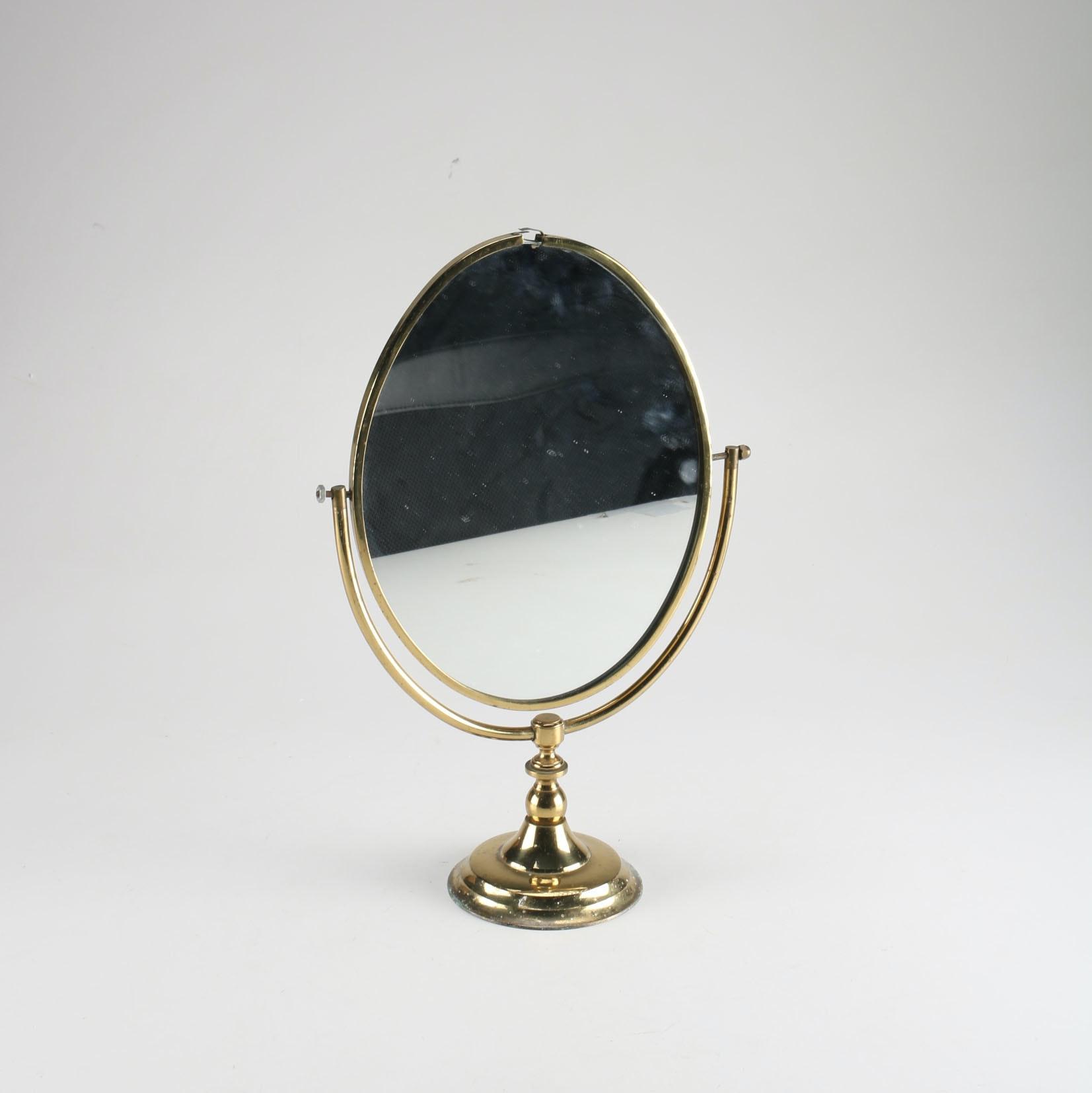 Small Vintage Oval Barbola Vanity Mirror Circa 1920s