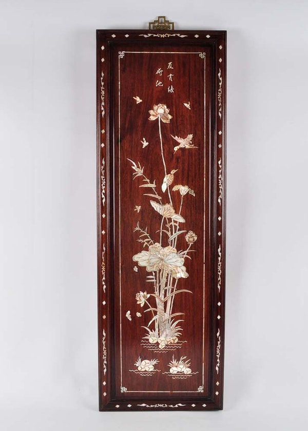 mother of pearl chinoiserie wall panel art ebth. Black Bedroom Furniture Sets. Home Design Ideas