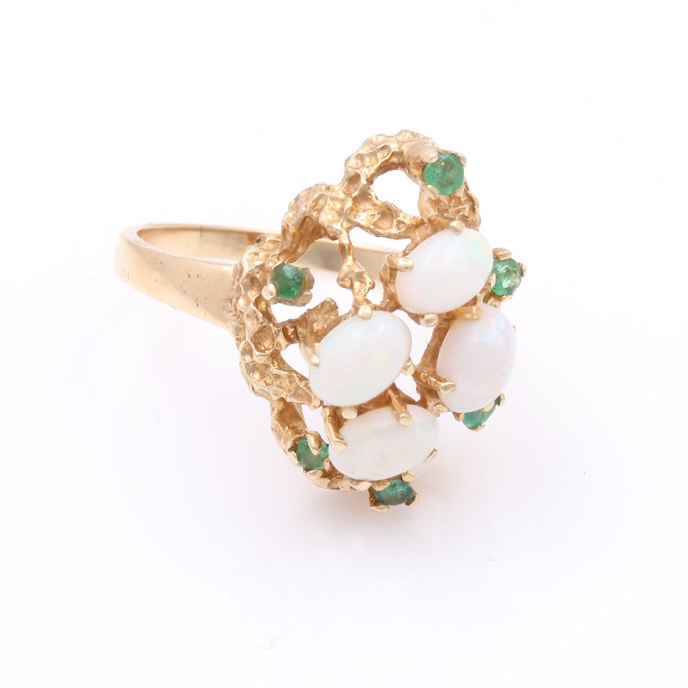 14k yellow gold opal and emerald ring ebth