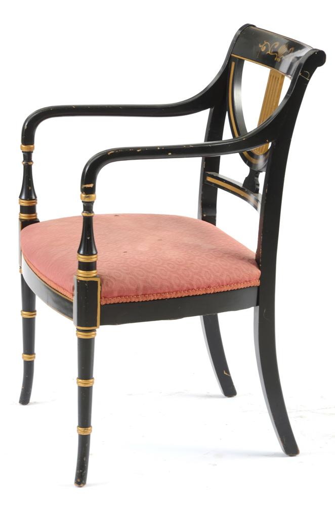 Vintage Regency Black Lacquered Arm Chair by Whitlocku0026#39;s Furniture : EBTH