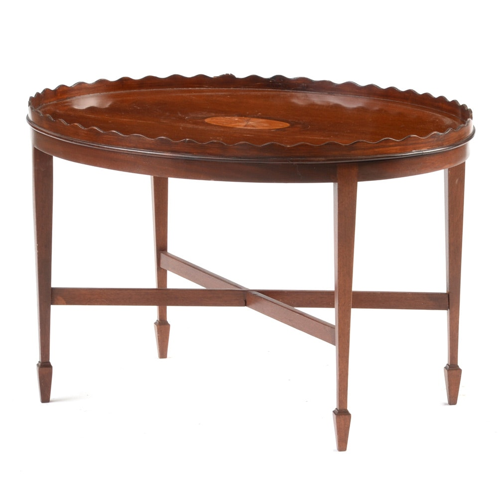 ... Furniture Consignment Dc By Hepplewhite Style Inlaid Oval Tea Table  Ebth ...