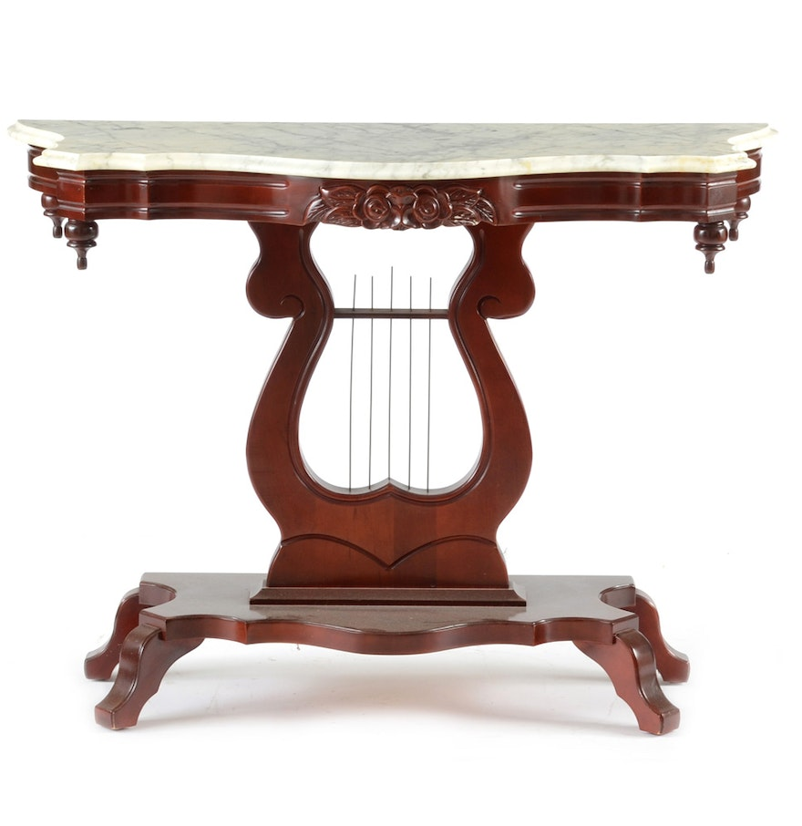 Victorian style marble top console table ebth victorian style marble top console table geotapseo Images