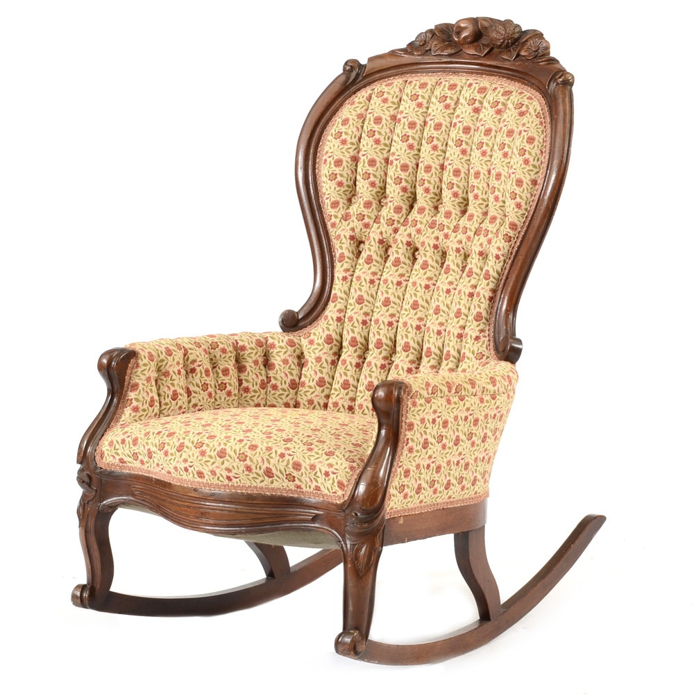 Victorian Style Tufted Rocking Chair ...