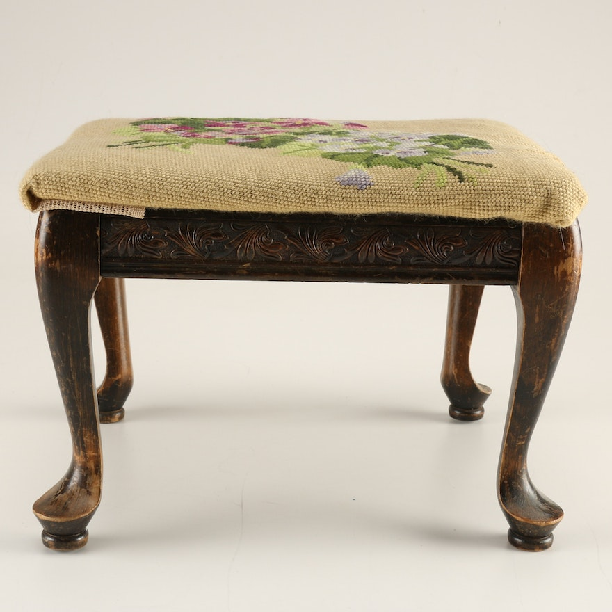 Cool Vintage Foot Stool With Hand Stitched Uhpolstery Dailytribune Chair Design For Home Dailytribuneorg