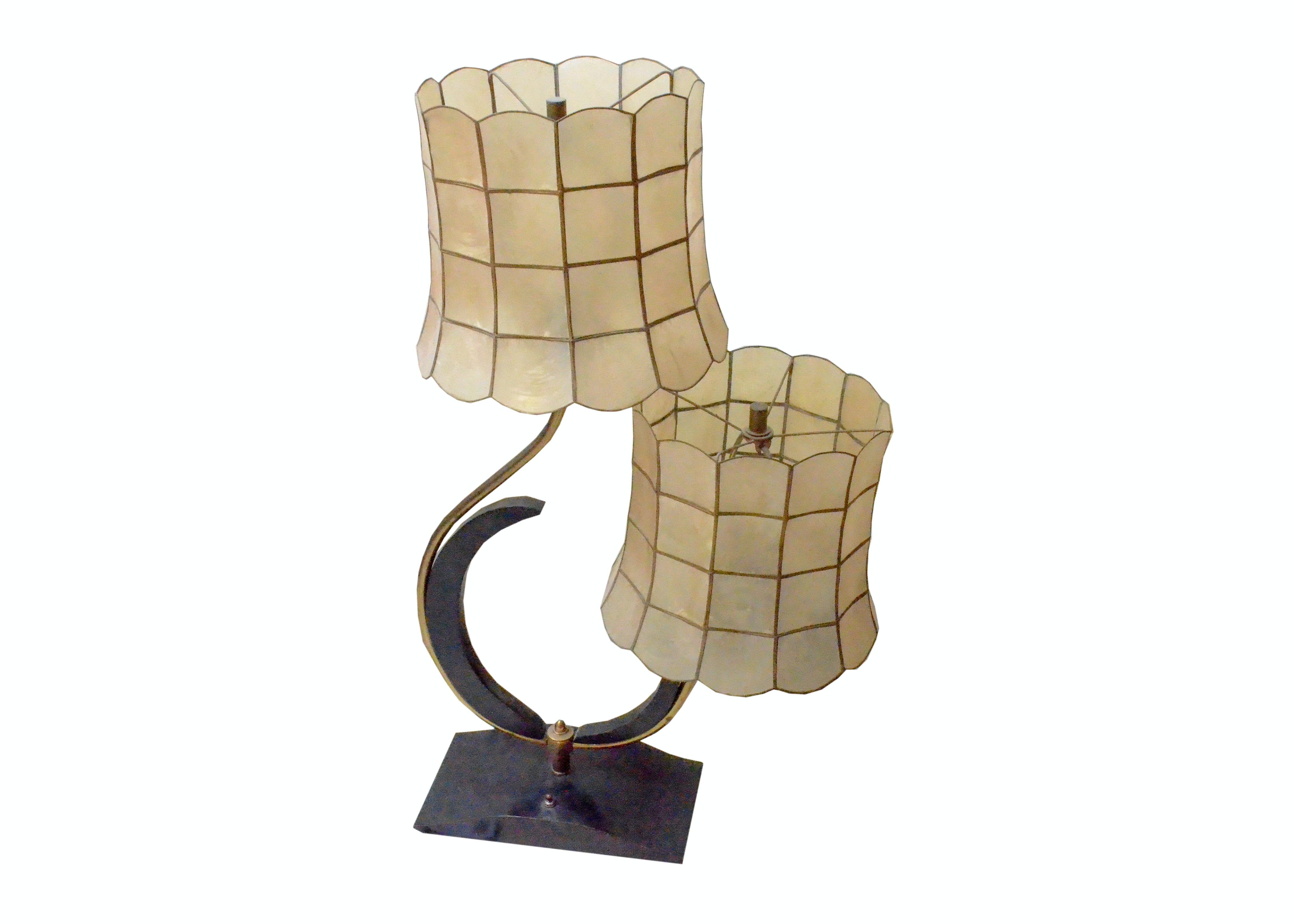 Mid Century Capiz Shell Table Lamp