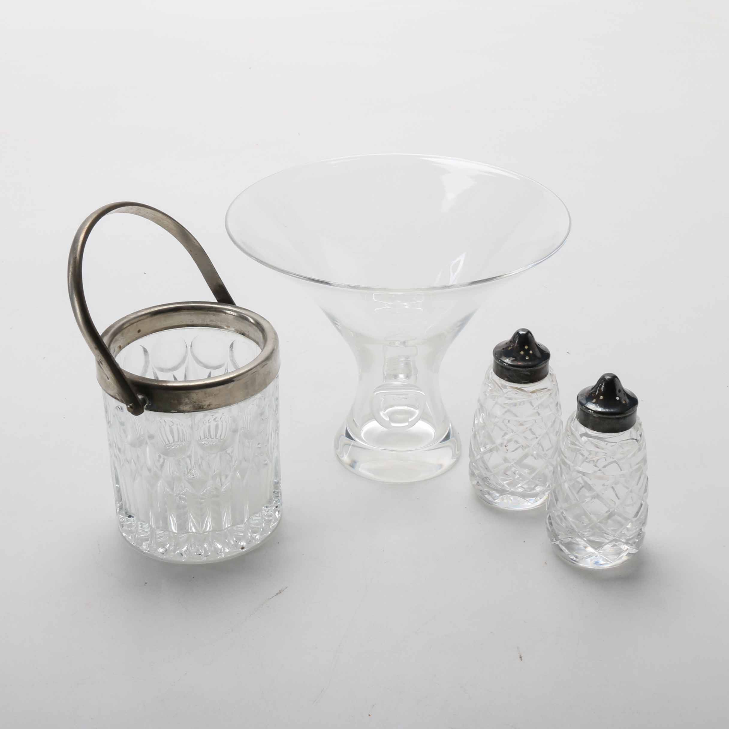 Steuben Bouquet Vase and Waterford Salt and Pepper Shakers