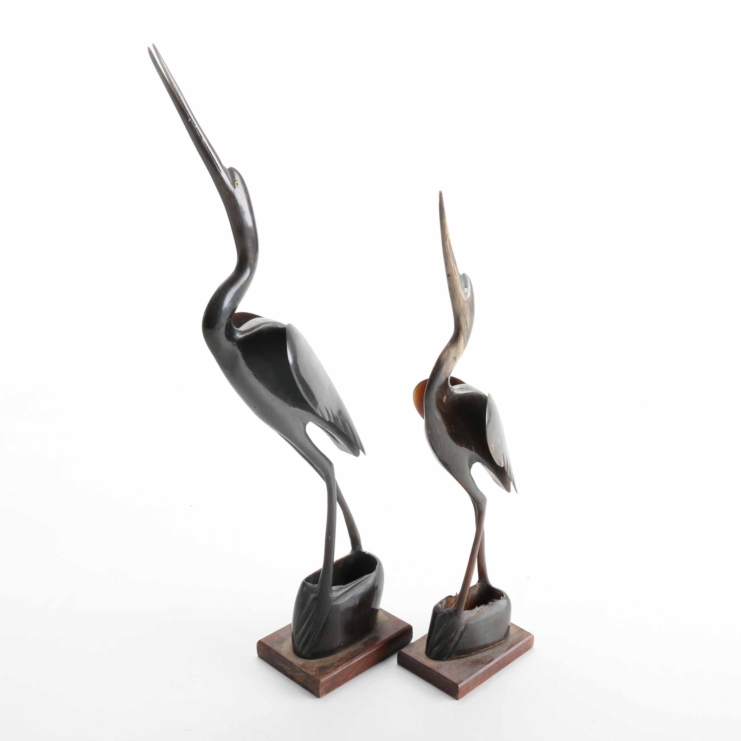 Carved Wood Stork Figurines