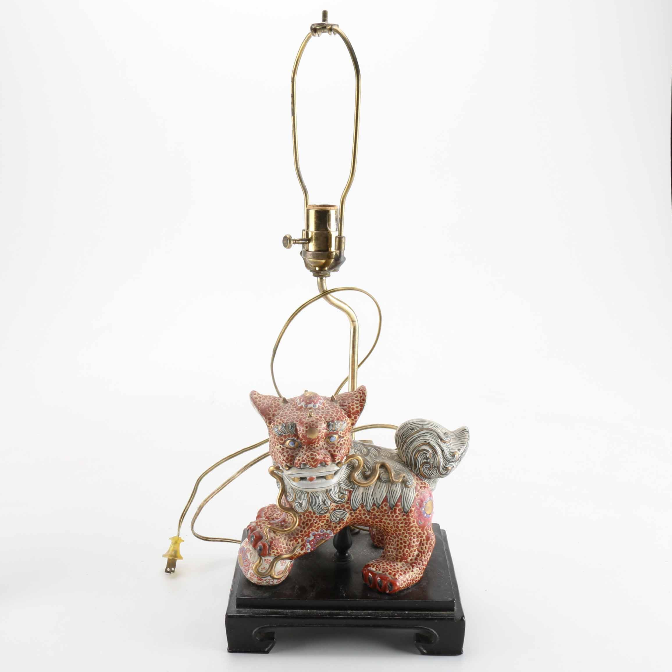 Chinese Ceramic Guardian Lion Lamp