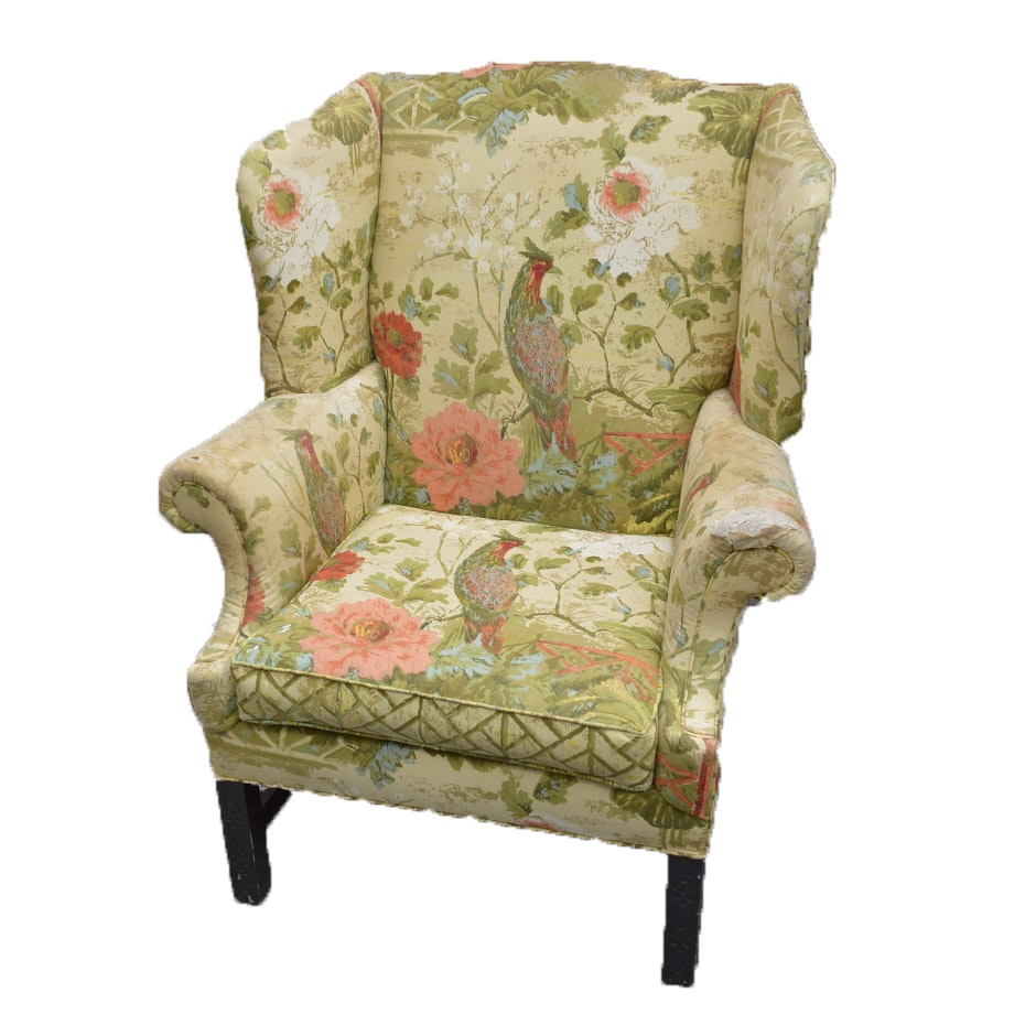 Upholstered Floral Arm Chair By Morganton Furniture Company ...