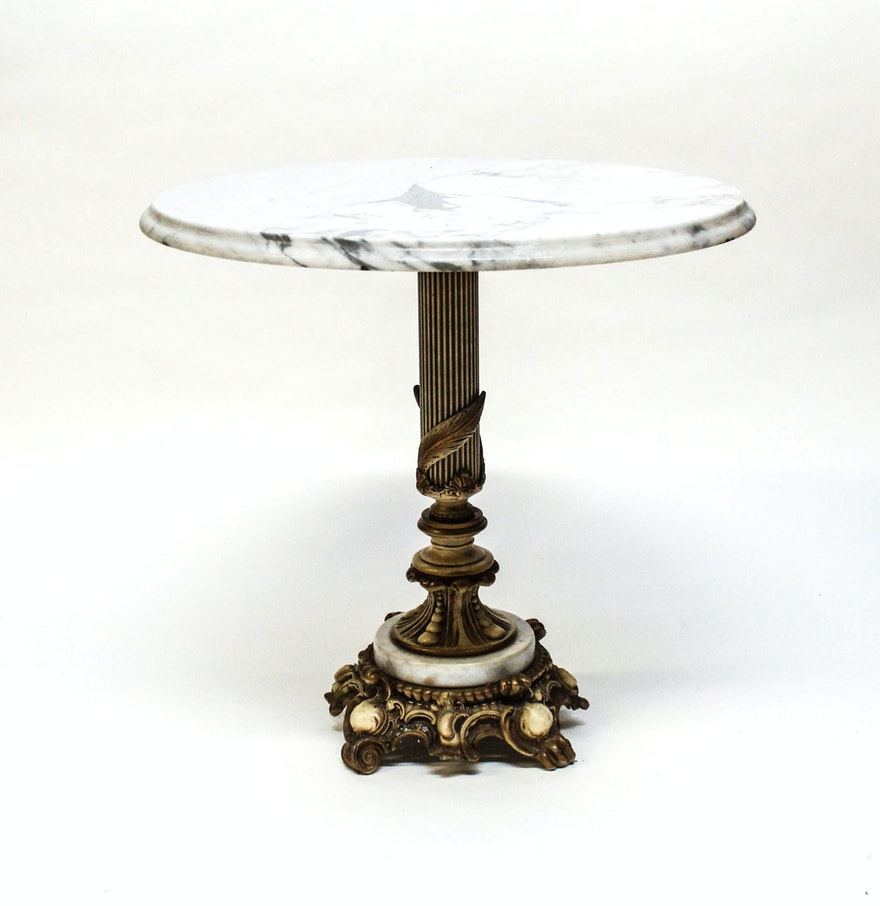 Elegant italian marble and cast iron pedestal table ebth for Cast iron table base marble top