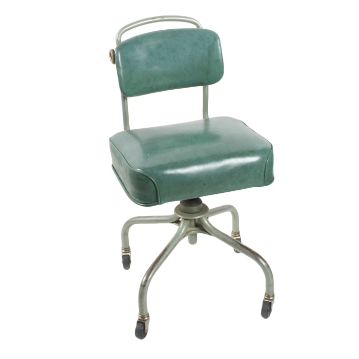 Charmant Vintage Mid Century Steelcase Green Desk Roller Chair ...