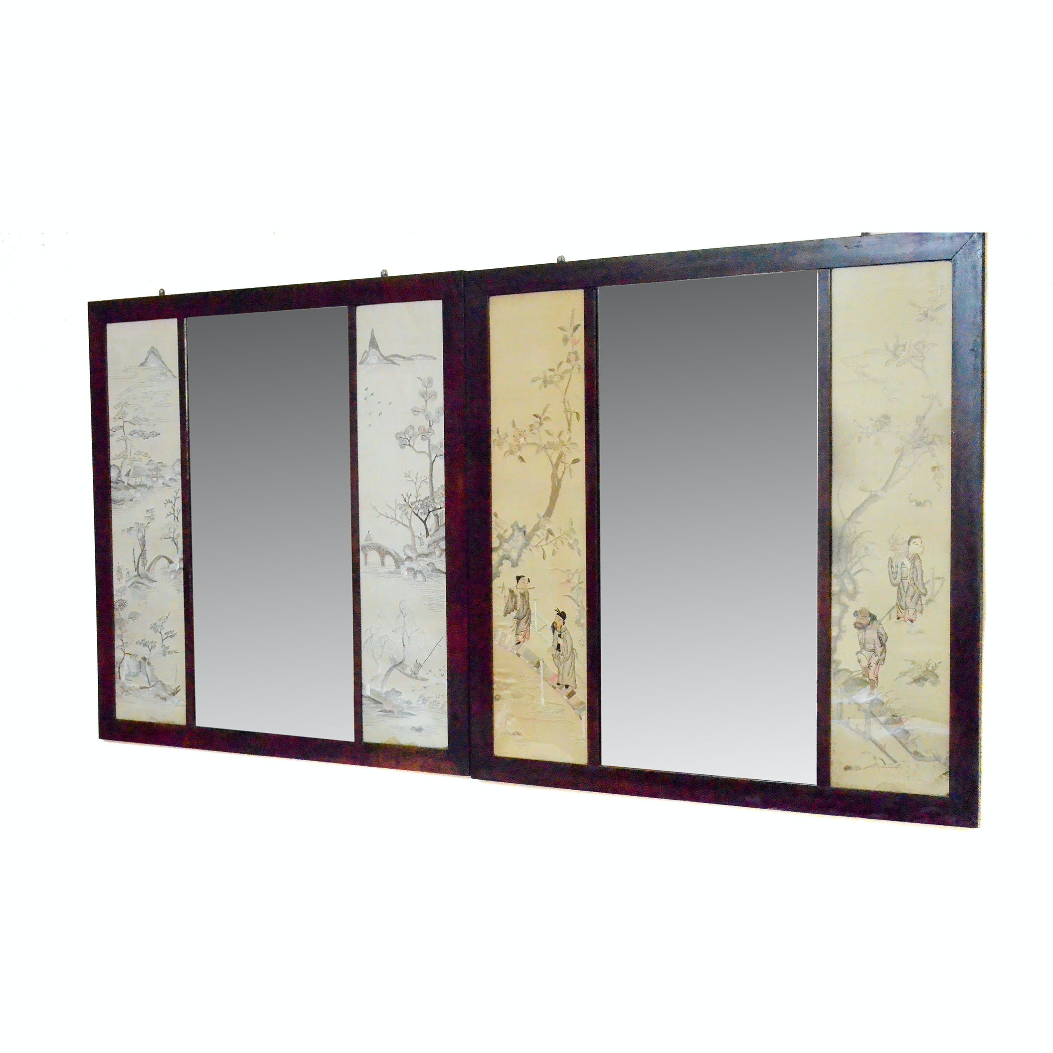 Chinese Inspired Mirrors With Embroidered Silk Side Panels