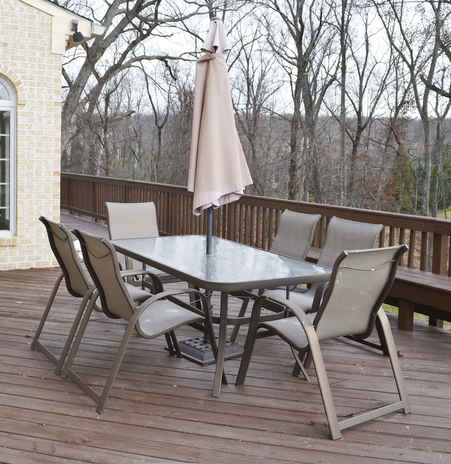 Outdoor patio table umbrella and chairs ebth for Patio table and chairs with umbrella