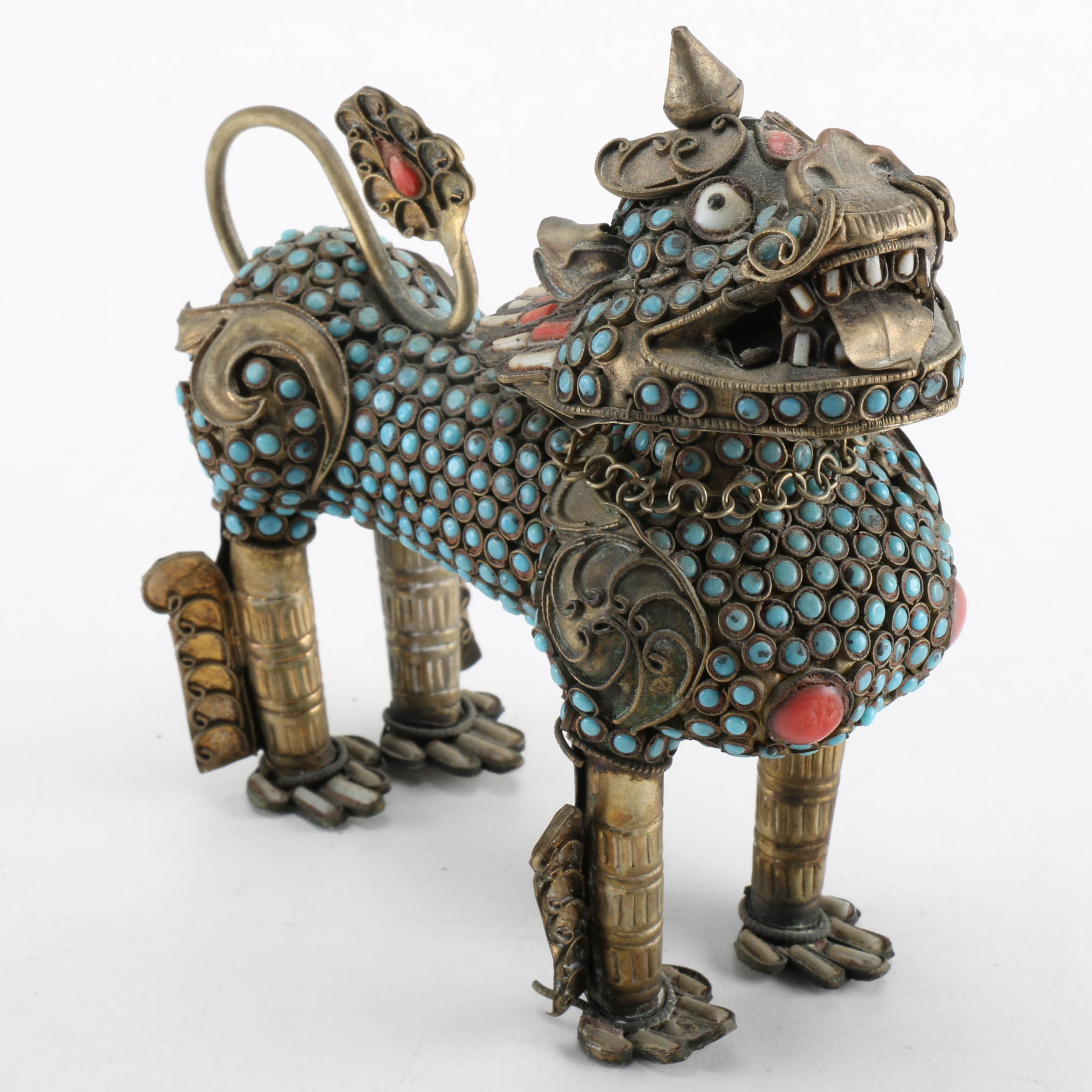 Brass Guardian Lion with Turquoise, Coral, and Calcite