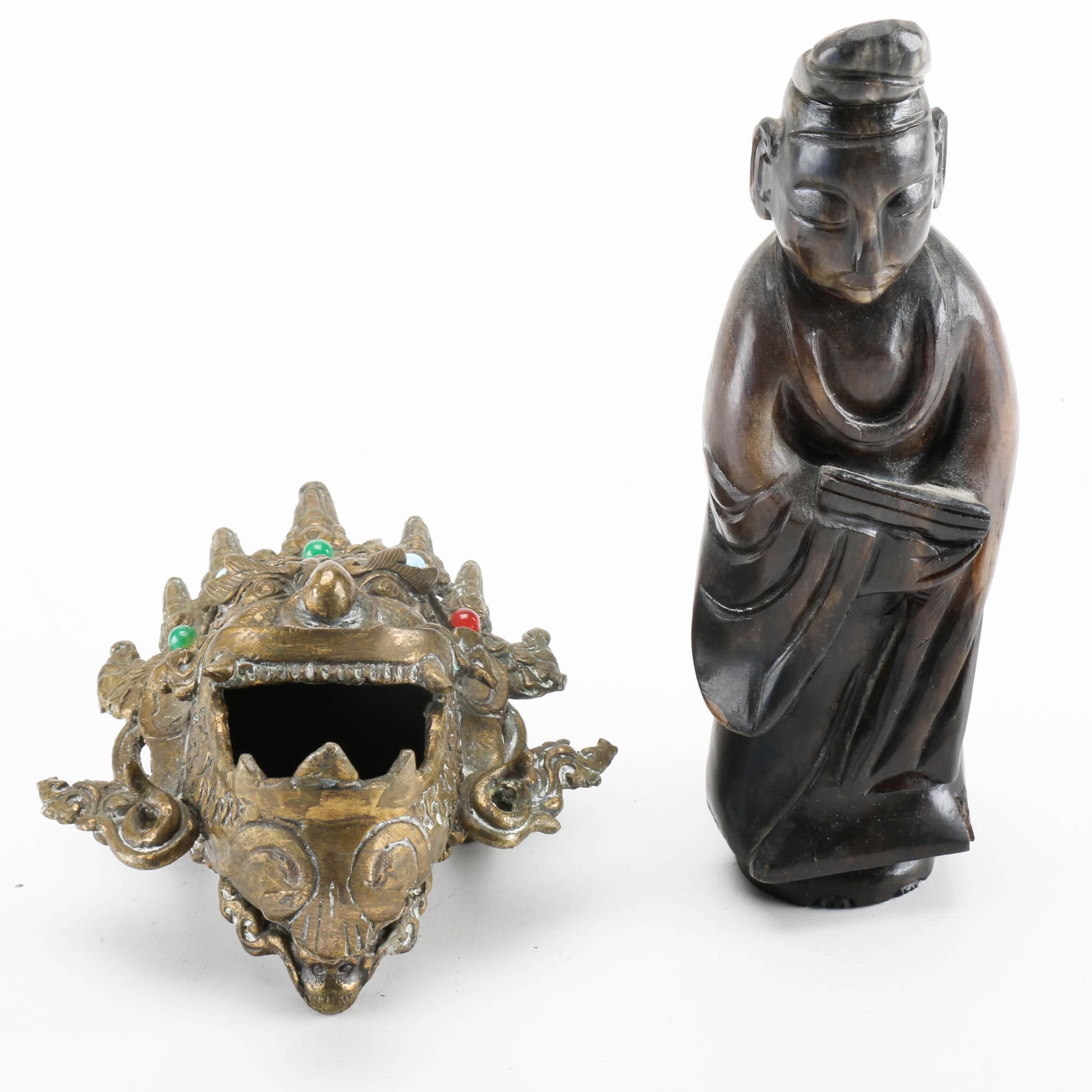 Carved Bowenite Deity and Brass Deity Head