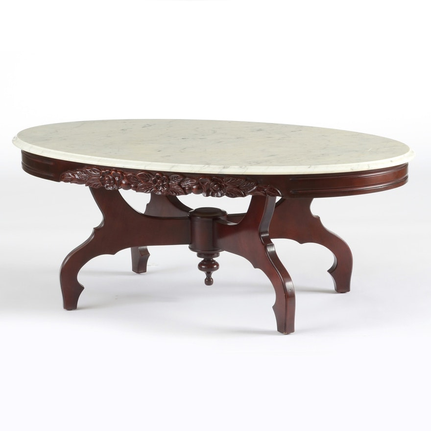 Marble Top Coffee Table: Victorian Style Marble Top Coffee Table : EBTH