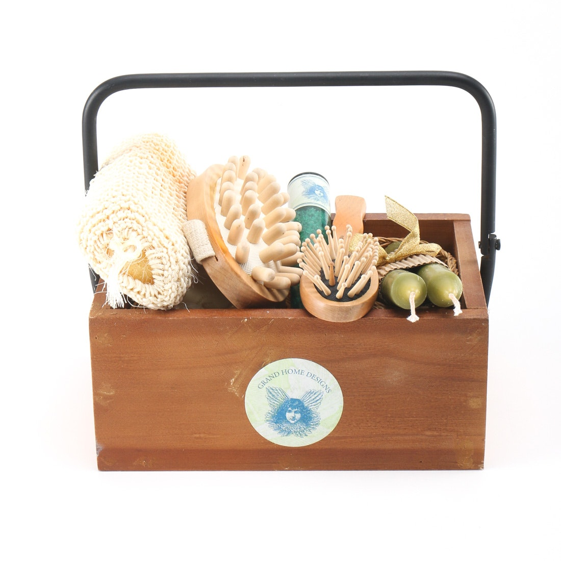 Wooden box with bathroom accessories ebth for C bhogilal bathroom accessories