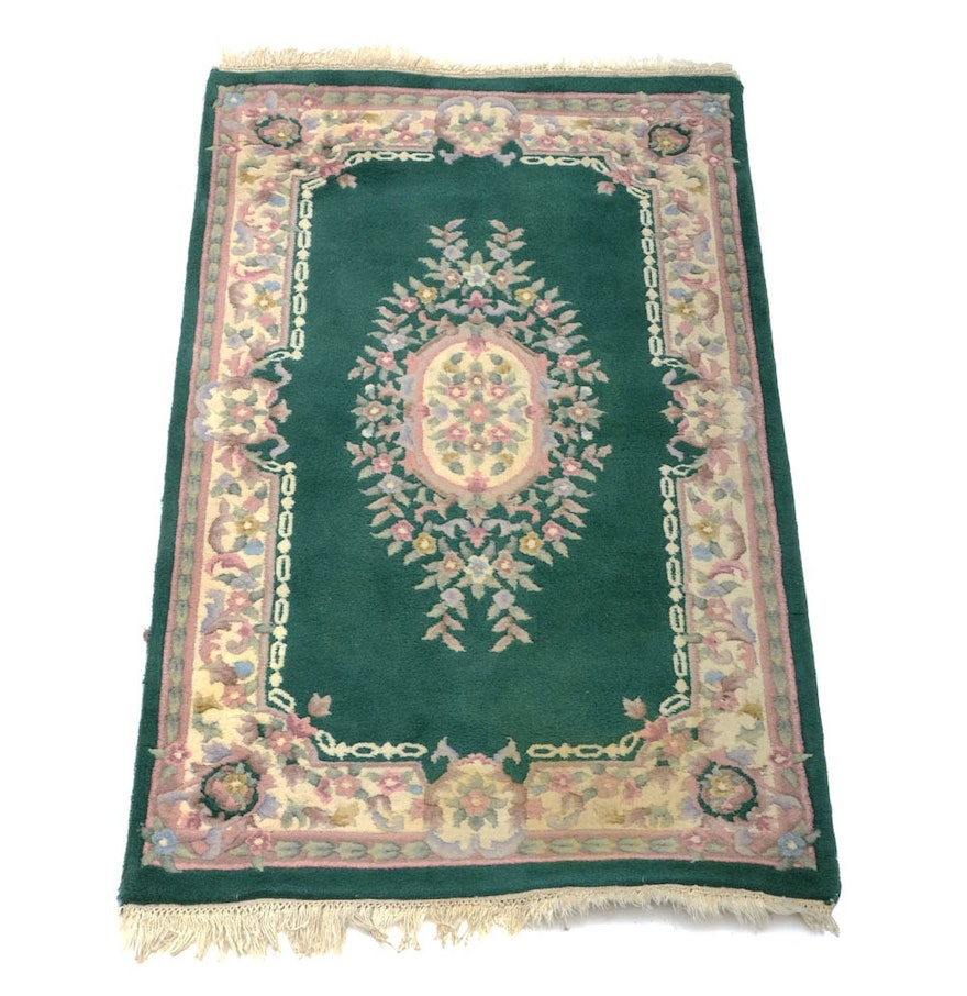 Green And Pink Floral Accent Rug : EBTH