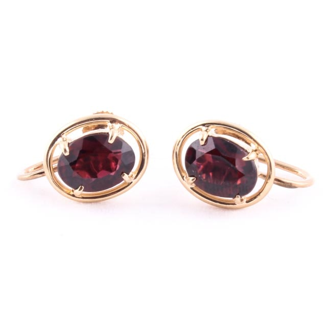 14k yellow gold garnet earrings ebth