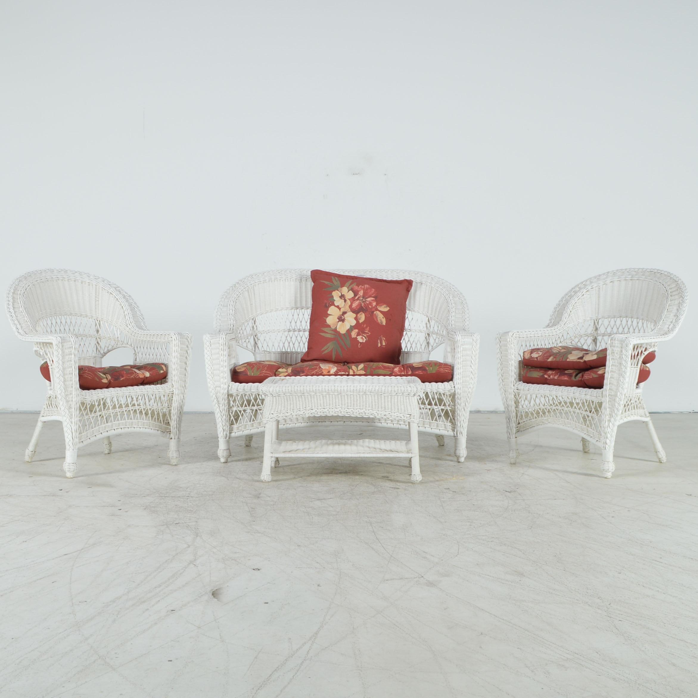 White Wicker Weave Patio Furniture Ebth