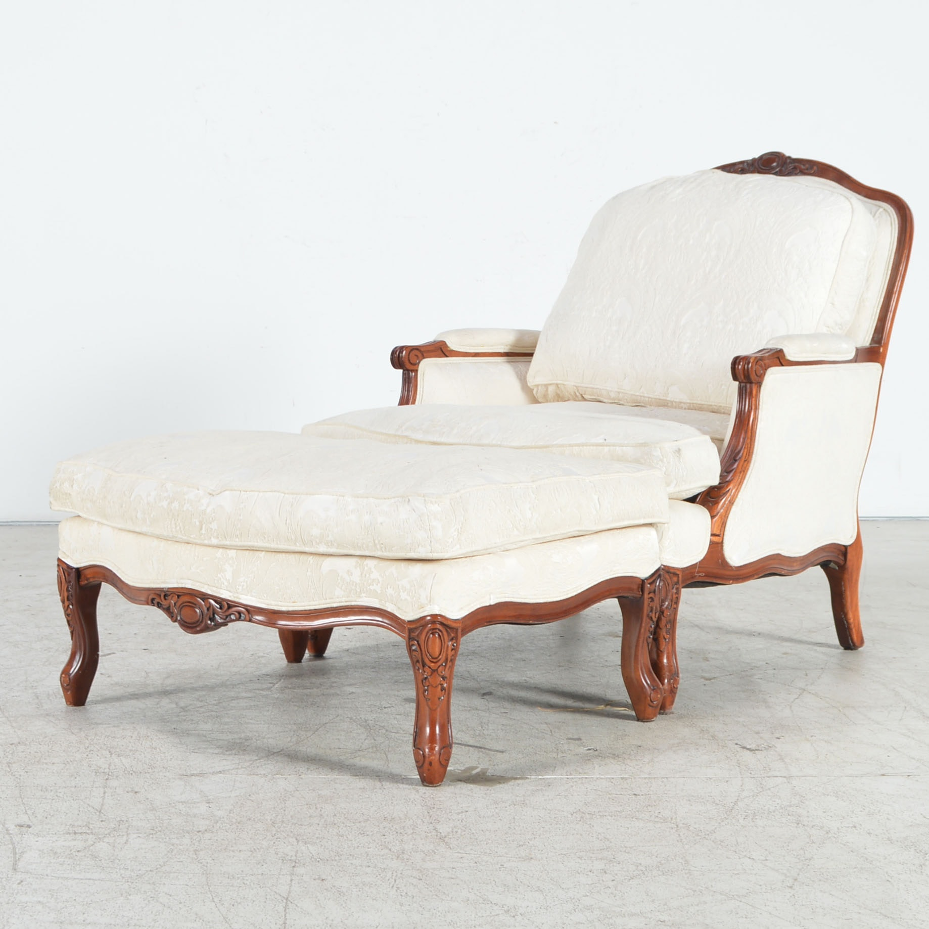 Upholstered Bergere Chair With Matching Ottoman ...