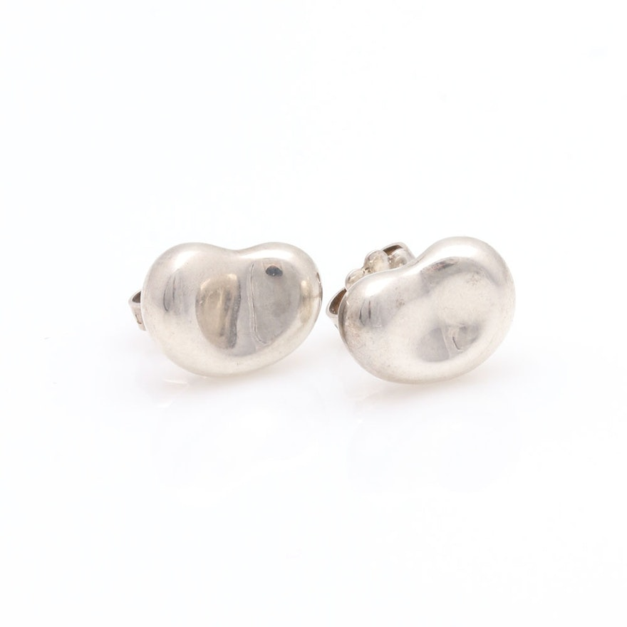 Sterling Silver Elsa Peretti For Tiffany Co Bean Earrings