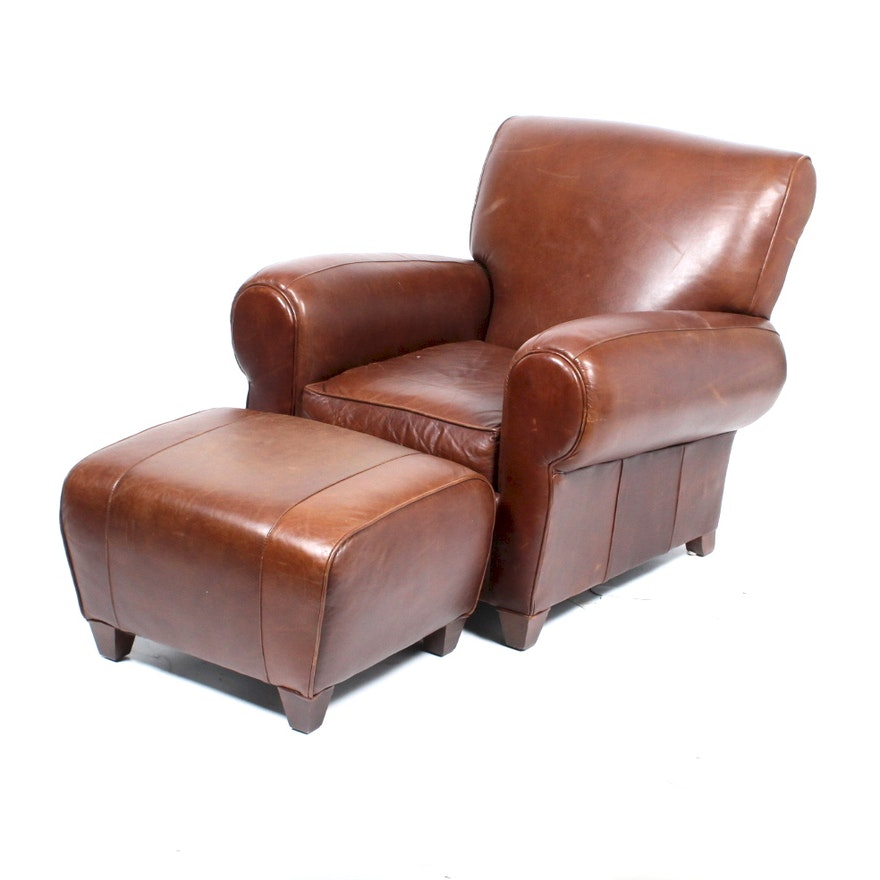 Wondrous Brown Leather Pottery Barn Club Chair And Ottoman Caraccident5 Cool Chair Designs And Ideas Caraccident5Info