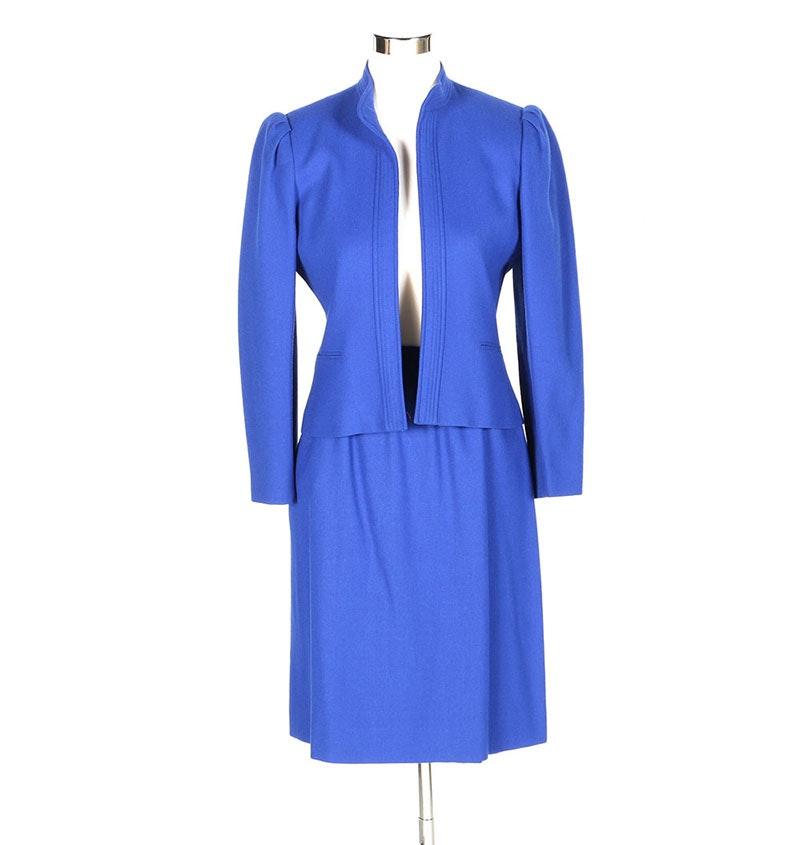Women S Wool Royal Blue Suit Ebth