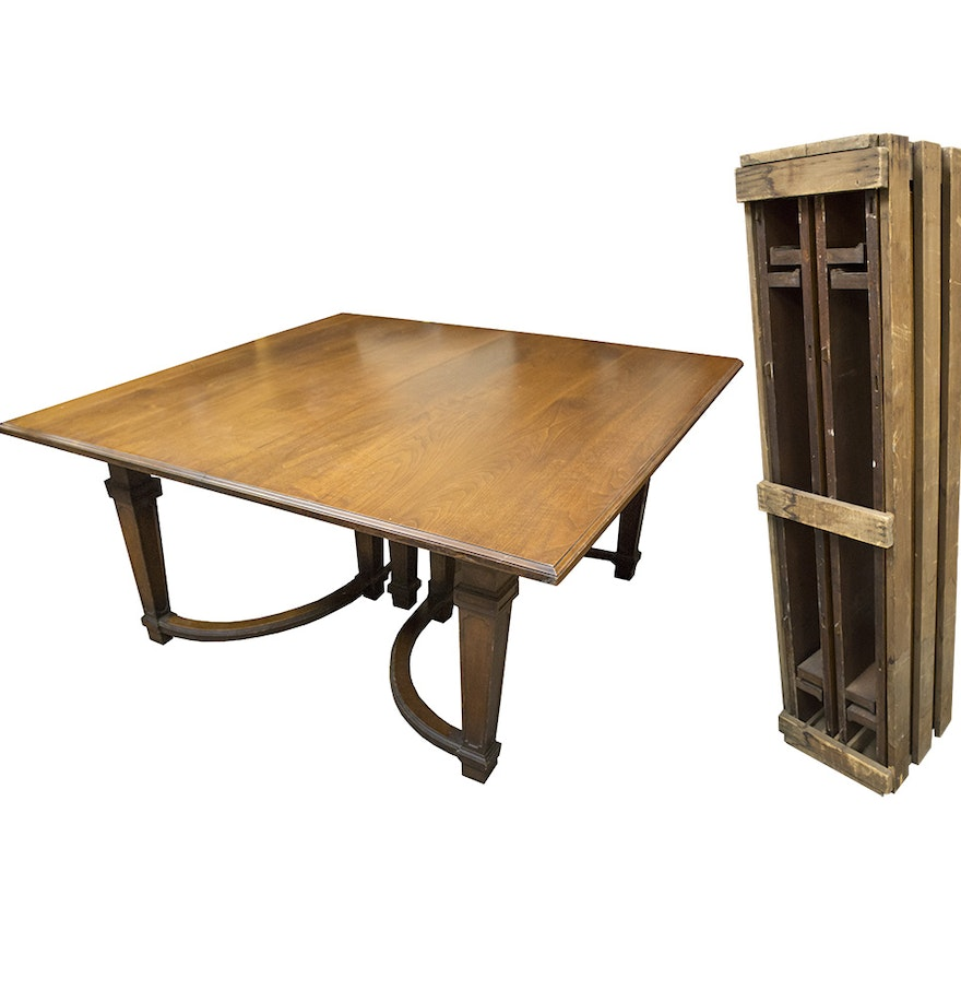 Square Walnut Dining Table With Three Leaves Ebth