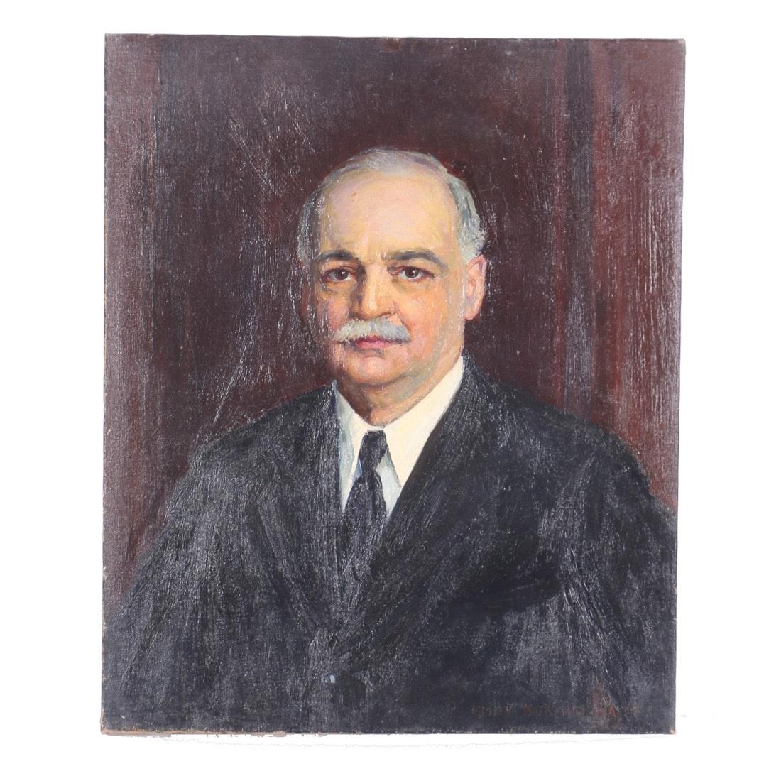 Emily B. Waite Oil on Canvas Portrait of Man