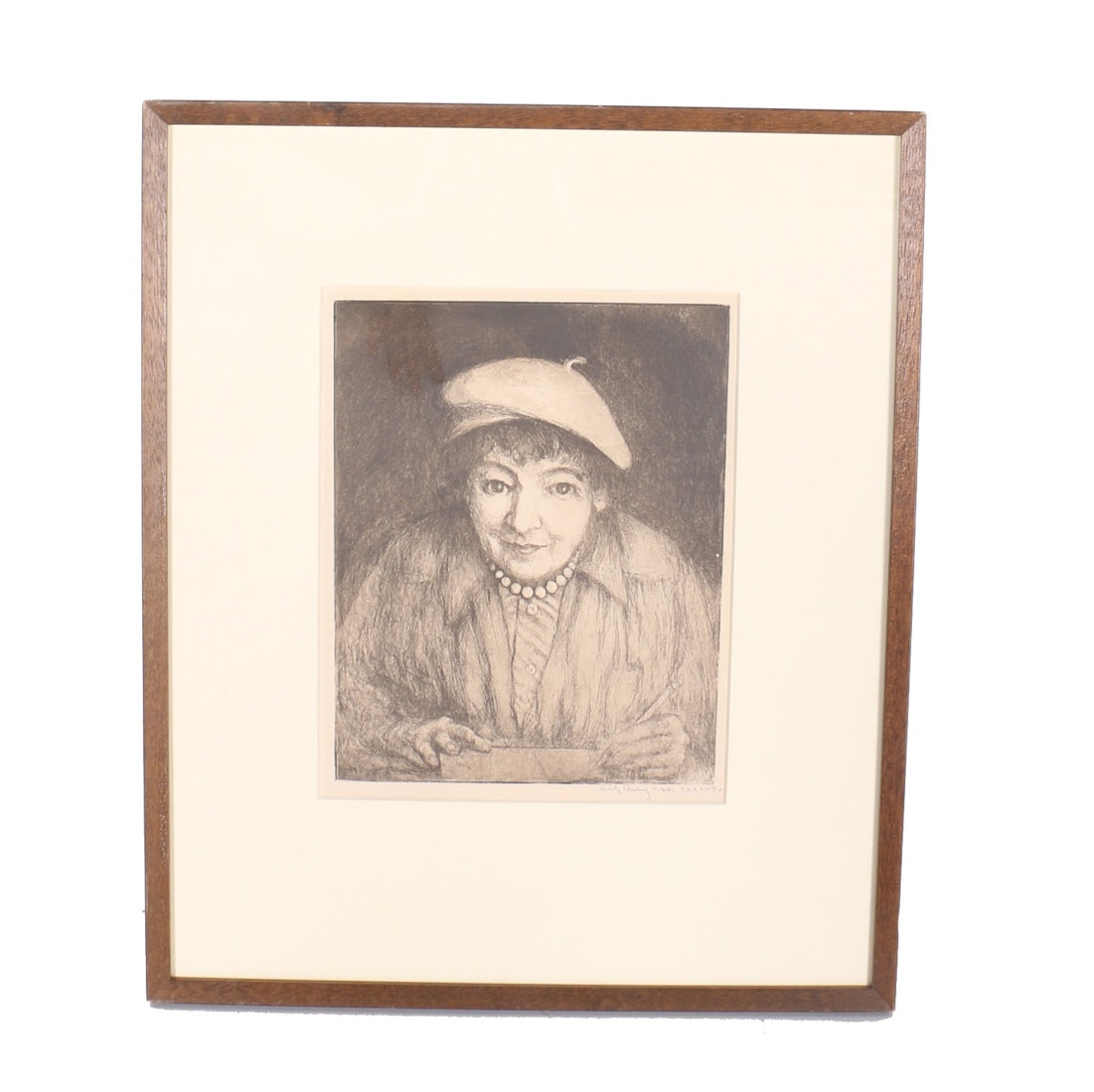 Emily Burling Waite Etching on Paper Self-portrait