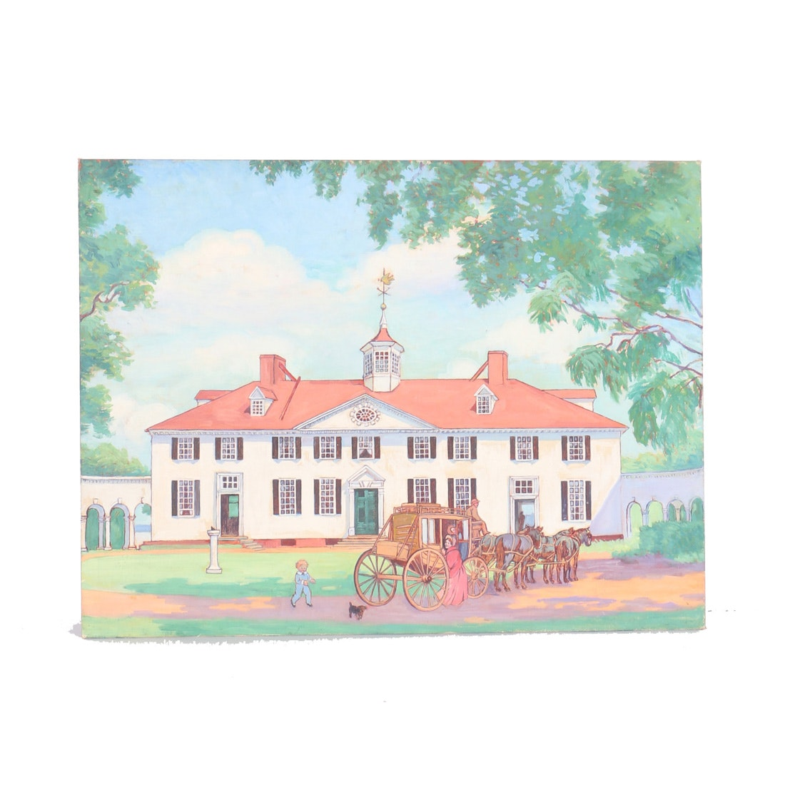 Oil Painting on Canvas Board of a Colonial Home