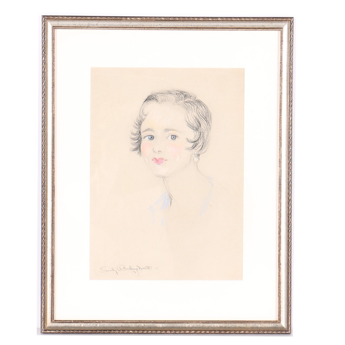 Emily B. Waite Pastel Drawing Portrait of Woman with Pearl Earrings