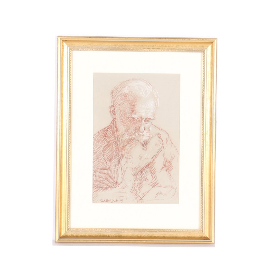 Emily B. Waite Conte Crayon Drawing Portrait of Elderly Man with a Dog