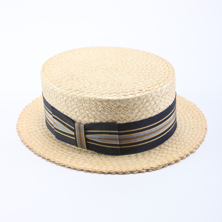 f6641cdc6ce Saks Fifth Avenue Straw Boater Hat   EBTH