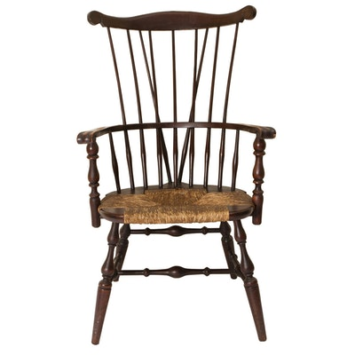 Wooden High Back Windsor Arm Chair - Vintage Chairs, Antique Chairs And Retro Chairs Auction In Art, Home