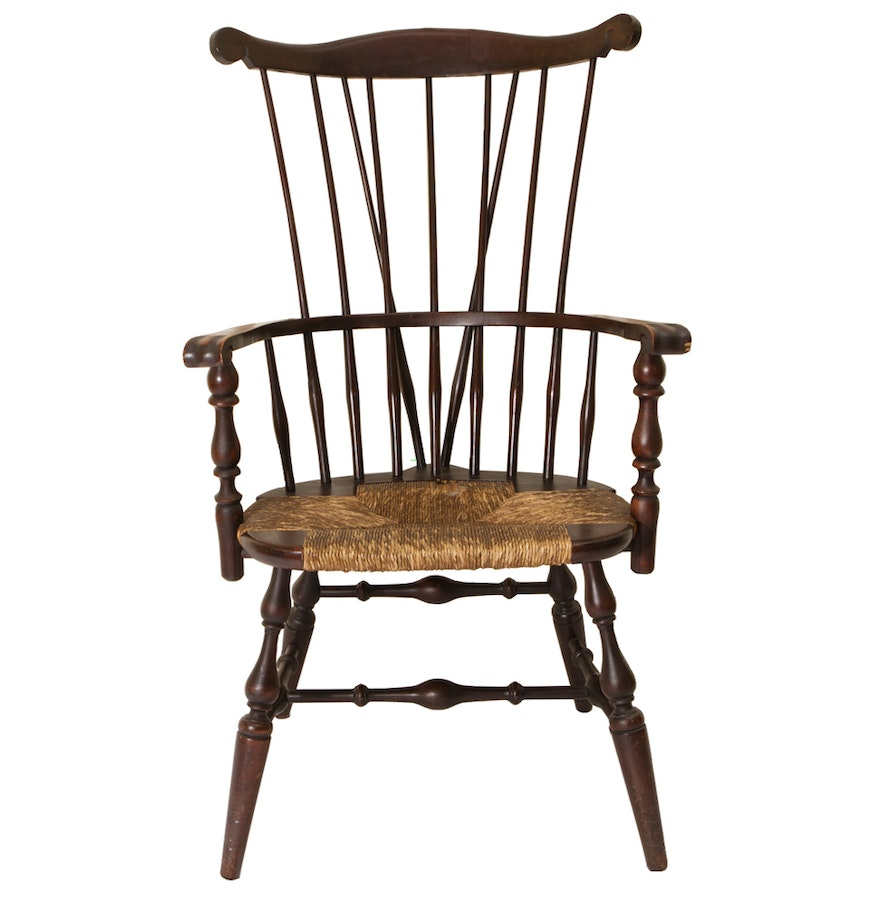 High back antique chairs - Wooden High Back Windsor Arm Chair