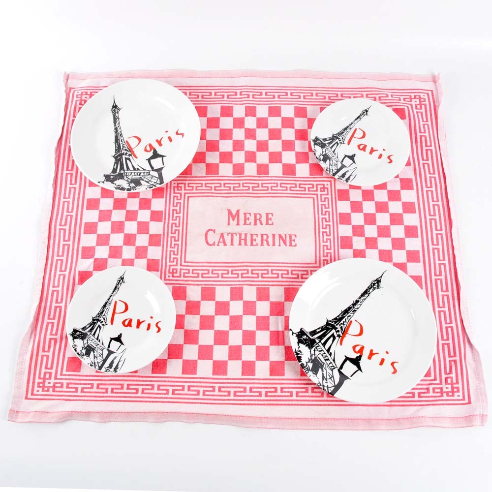 Paris Plates with Vintage French Tea Towel