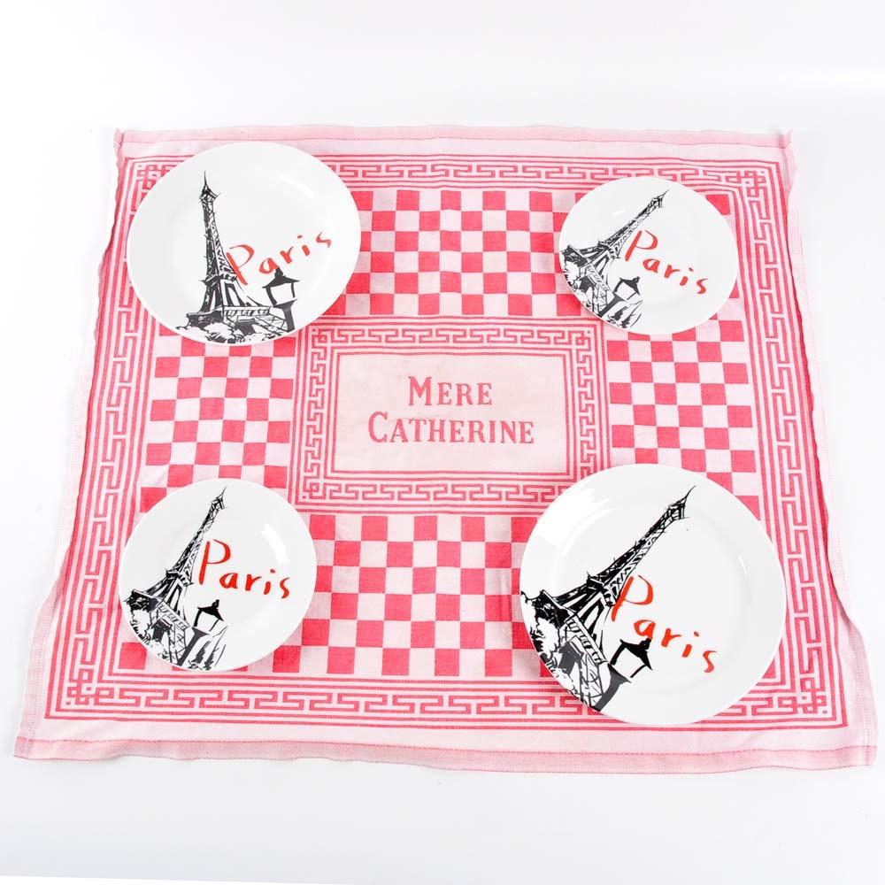 Paris Plates with Vintage French Tea Towel