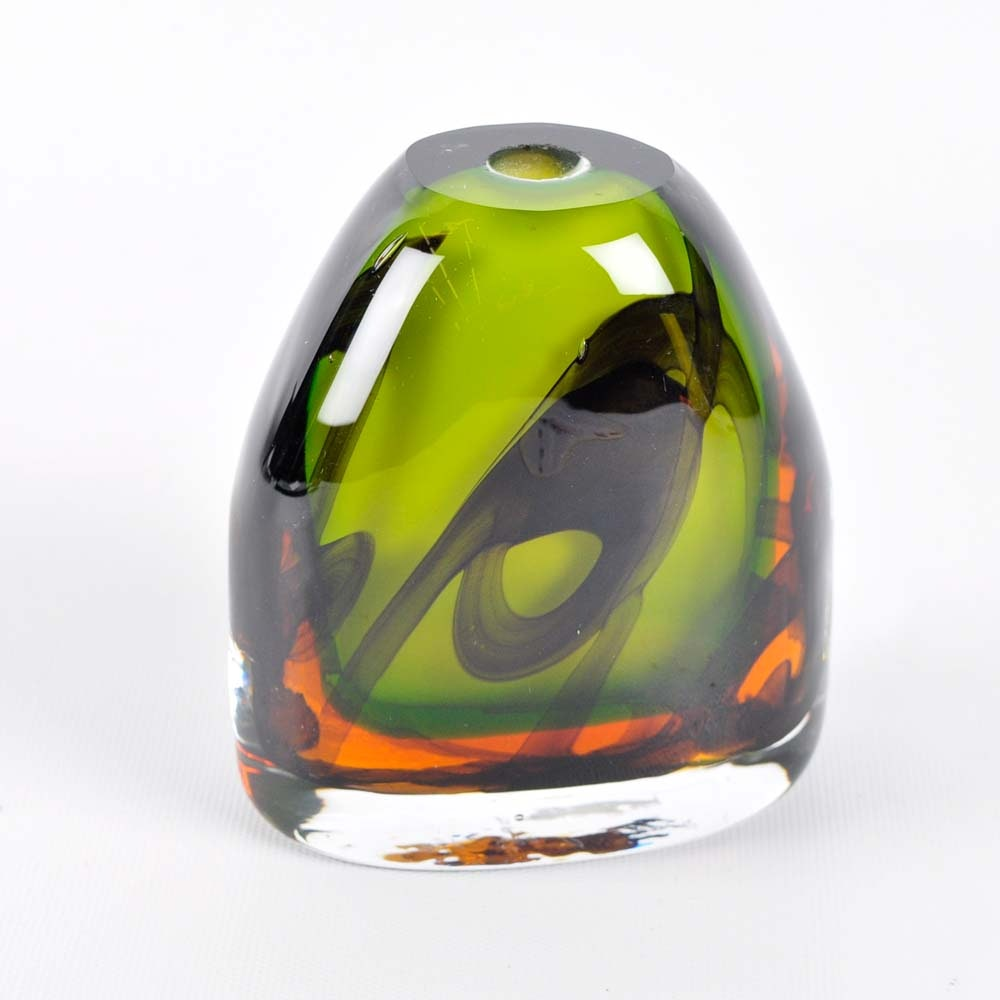 Signed Fusion Art Glass Vase