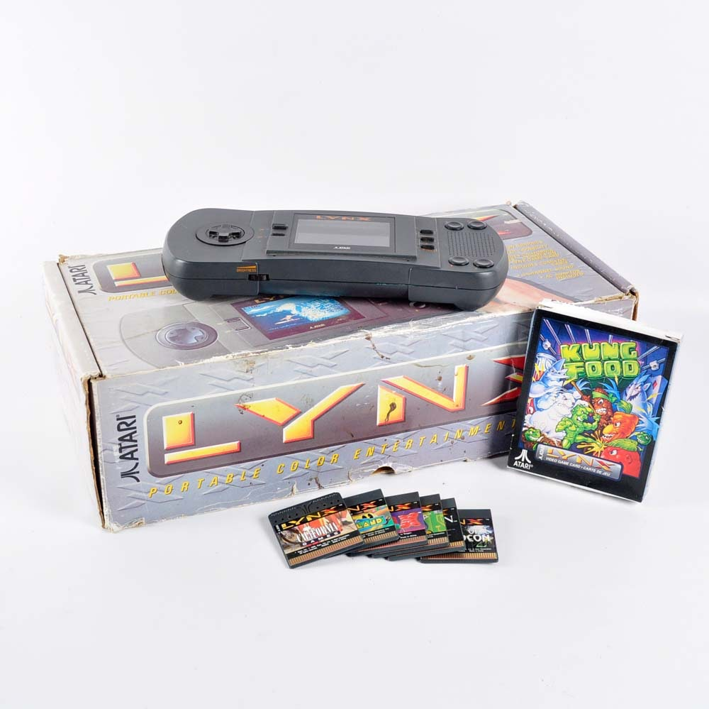 Vintage Atari Lynx Gaming System with Games
