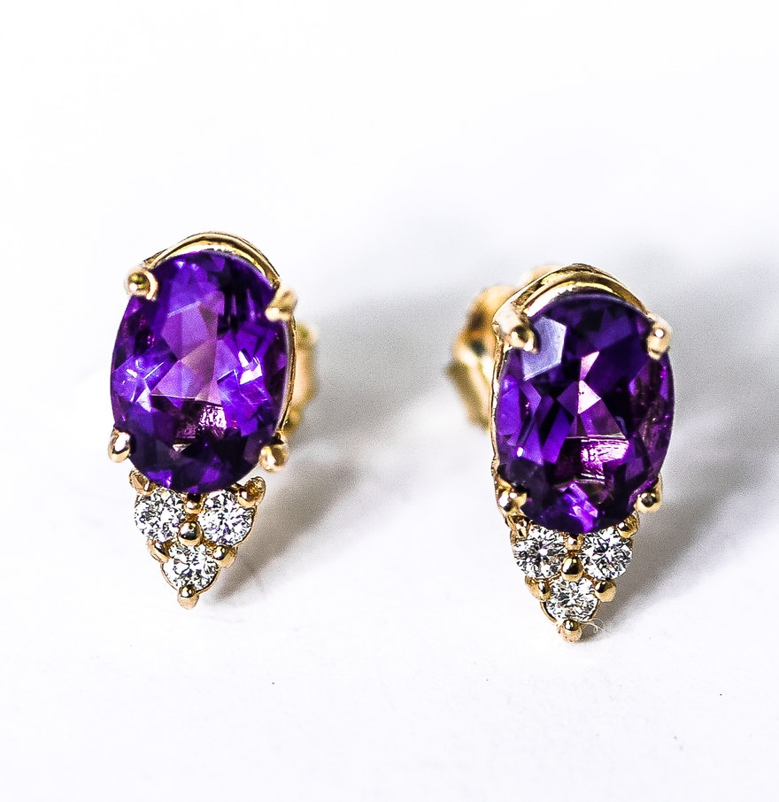 14k yellow gold amethyst and diamond stud earrings ebth. Black Bedroom Furniture Sets. Home Design Ideas