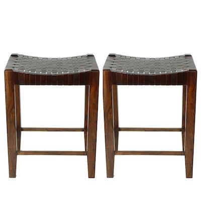 William Sheppee Ltd. Leather and Wood Saddler Bar Stools