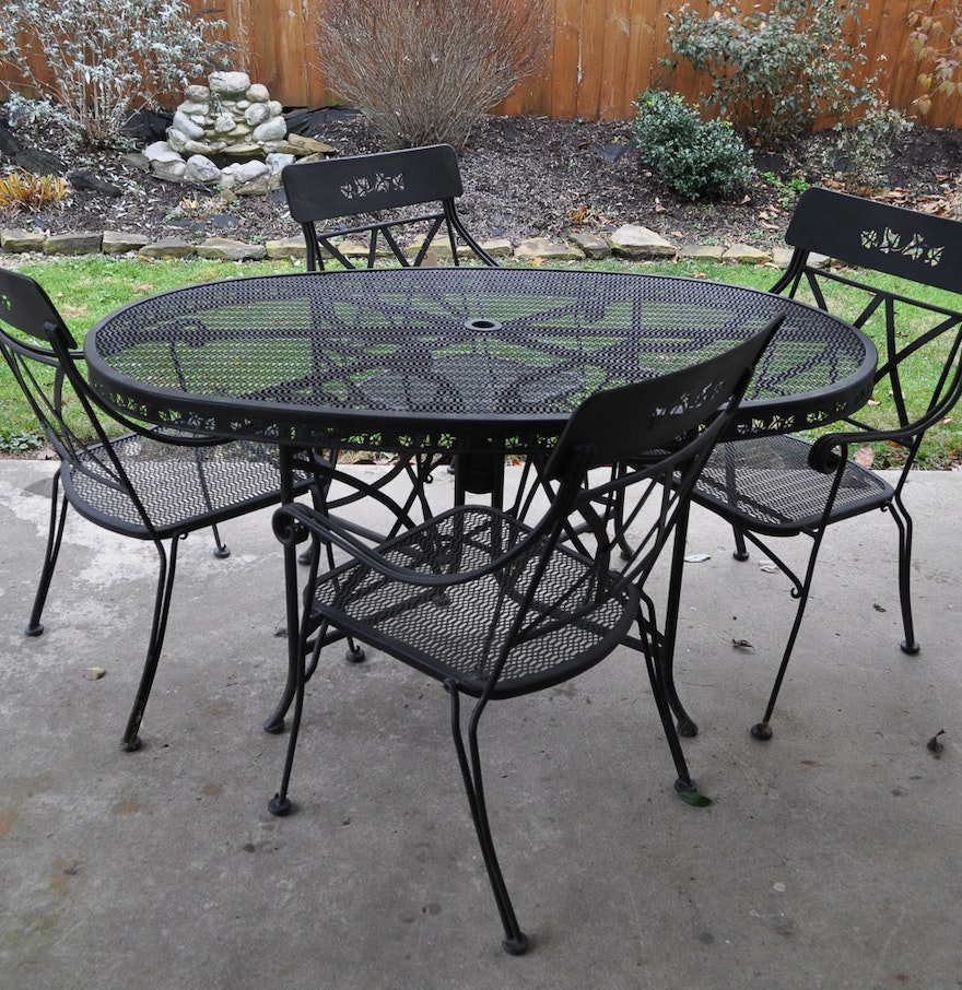 Black iron patio table with four chairs ebth for Small patio table and 4 chairs