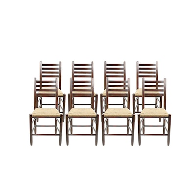 Dixie Seating Ladder Back Wood and Woven Seat Dining Chairs