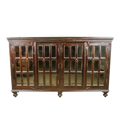 MOTI Michigan Four-Door Wood and Glass Credenza Cabinet