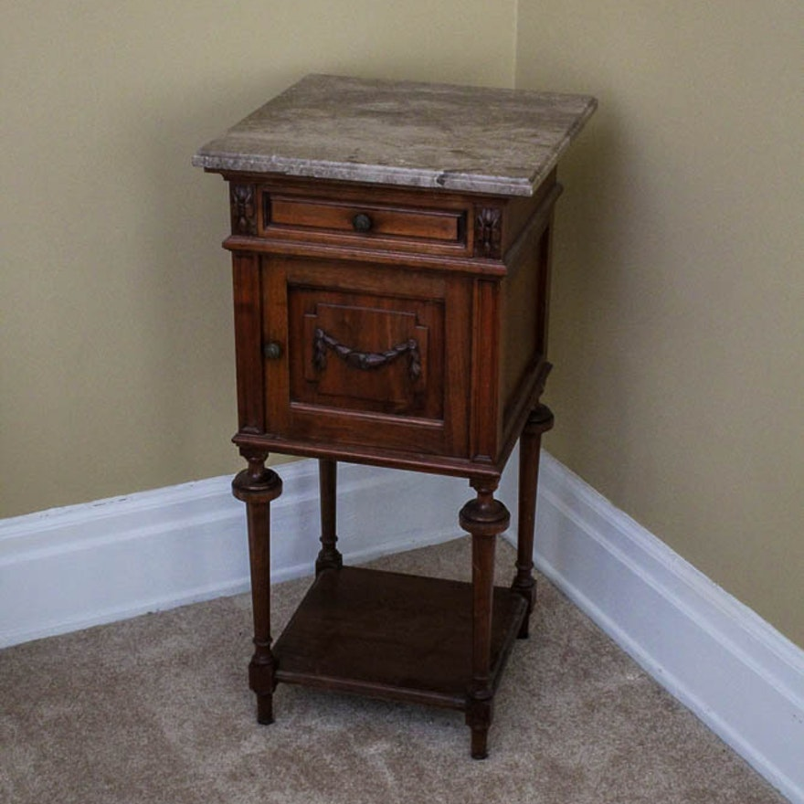 Antique smoking stand with marble top ebth for Sawyer marble jewelry stand