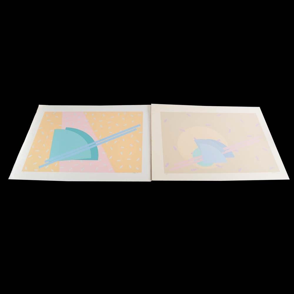 Artist Proof Untitled Stark Pastel Serigraphs on Paper