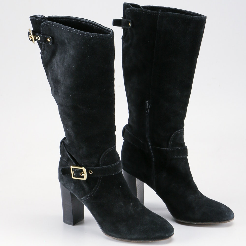 black suede knee high coach boots size 8 ebth