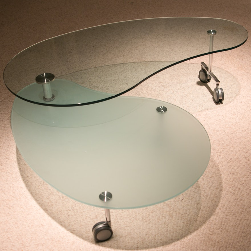 Modern Kidney Shaped Glass Coffee Table Ebth